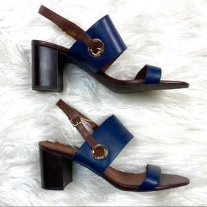 Cole Haan Block Leather Heeled Sandals Navy Blue